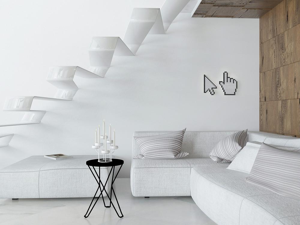 Белый цвет в оформлении квартиры-студии