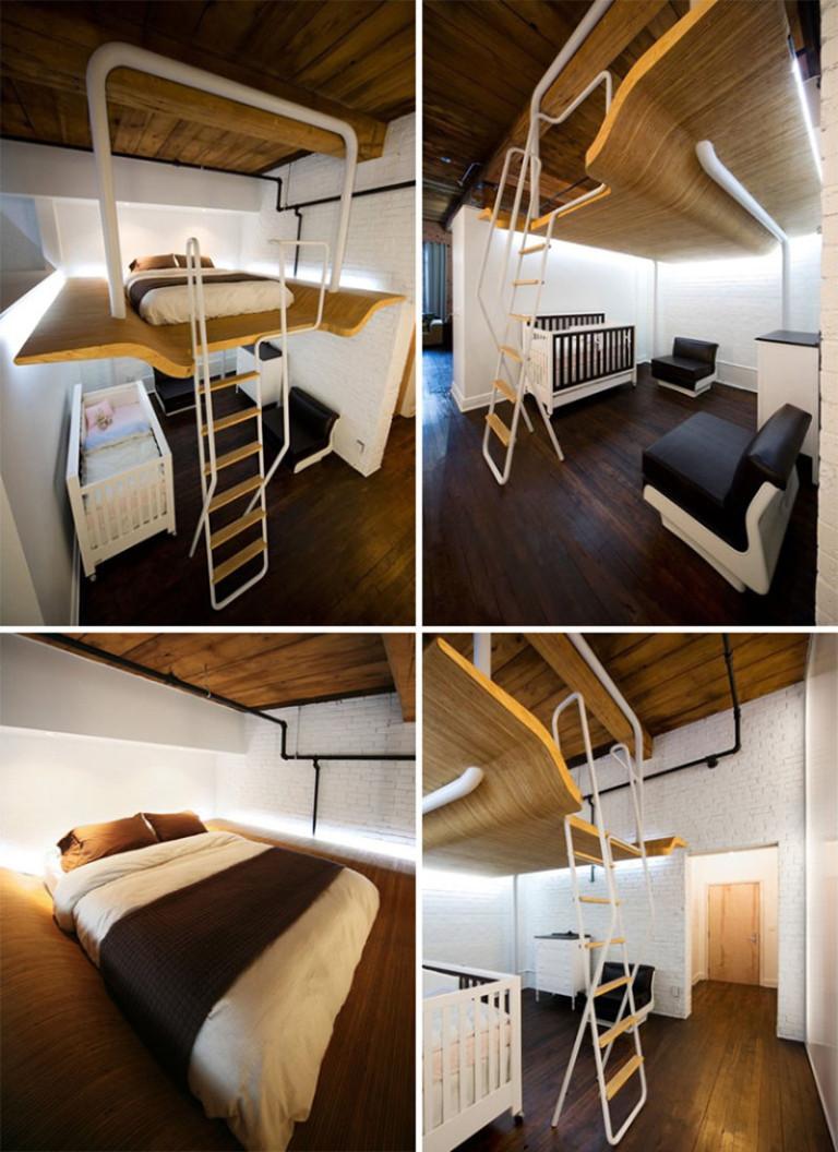 Кровать на антресолях в маленькую спальню