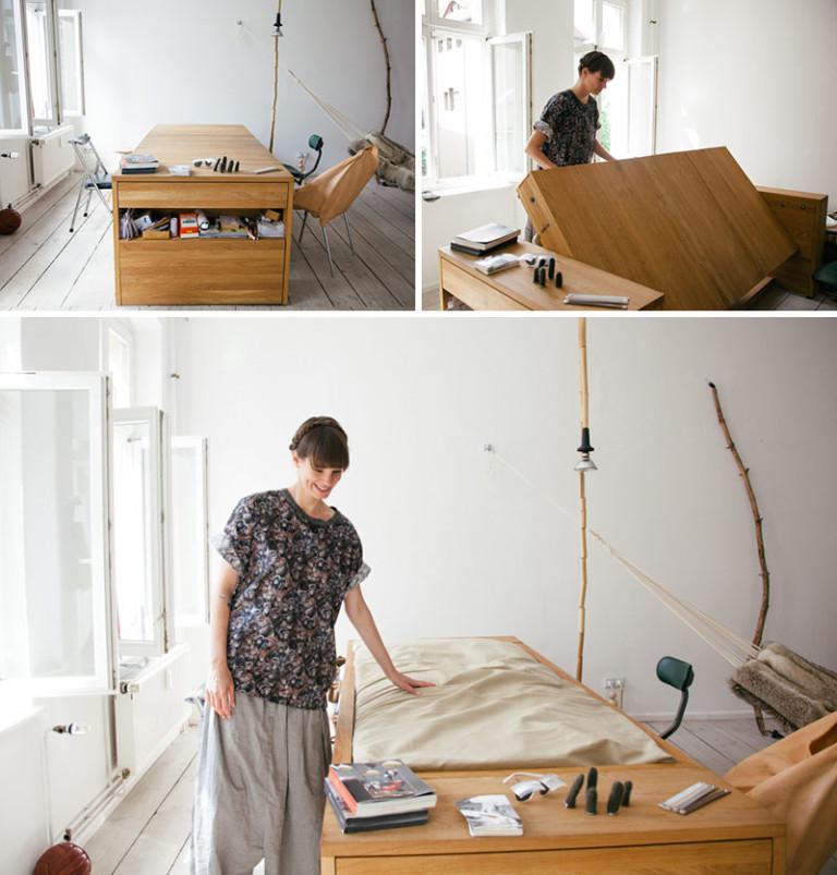 Кровать под столом в маленькой спальне