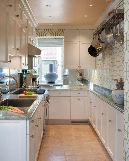 П-образная кухня с узкими столешницами