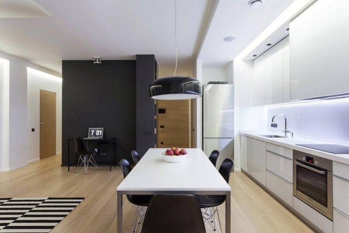 Кухонная и обеденная зоны в квартире-студии