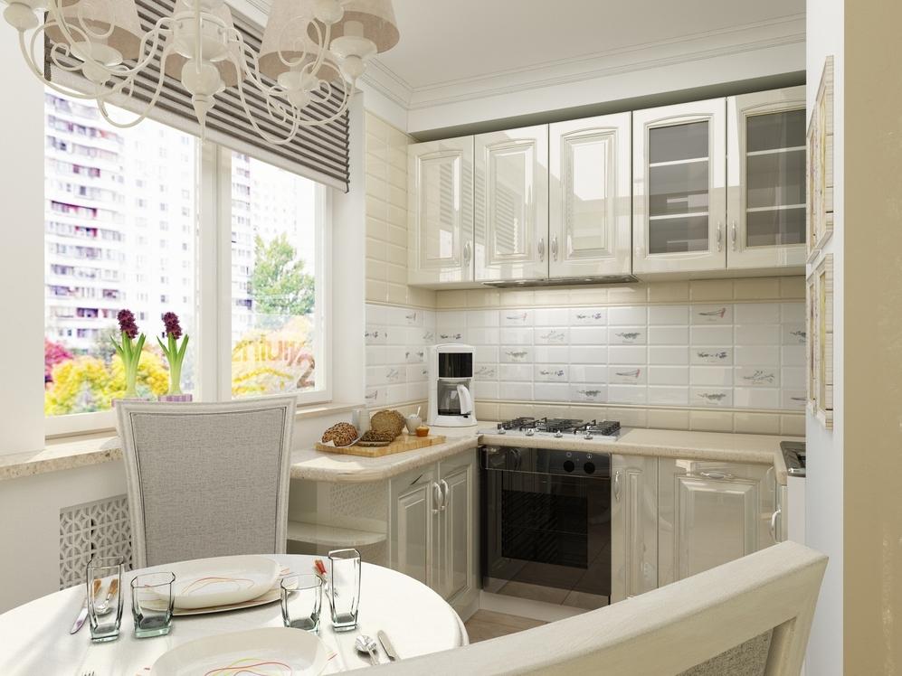 П-образный кухонный гарнитур с глянцевыми поверхностями