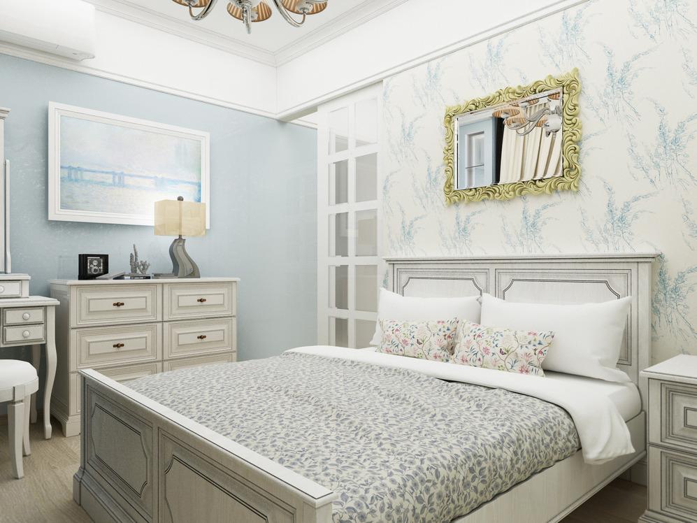 Спальня в спокойной цветовой палитре