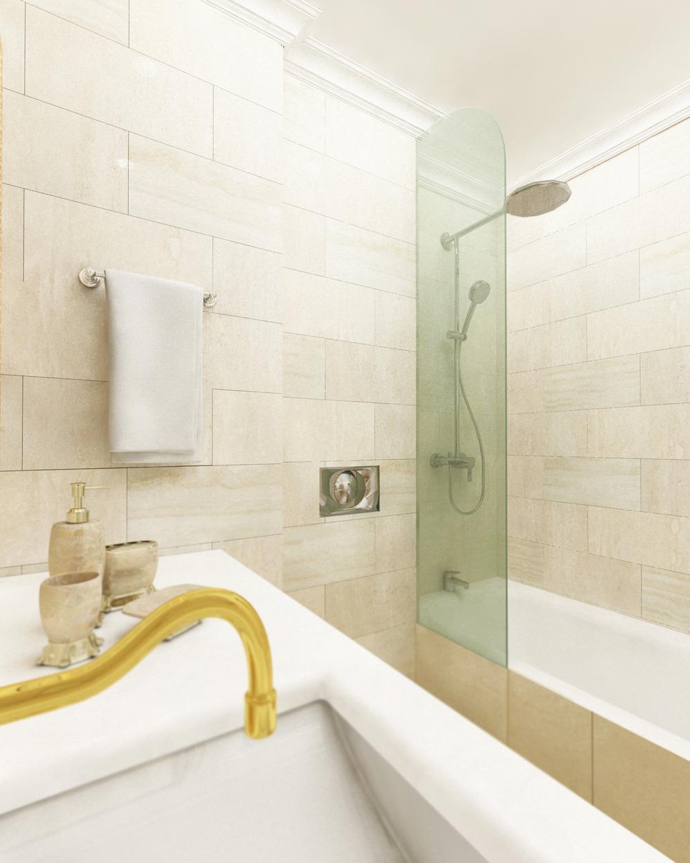 Золотые акценты в светлой ванной