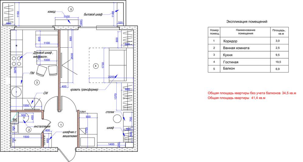 Планировка однокомнатной квартиры с мебелью