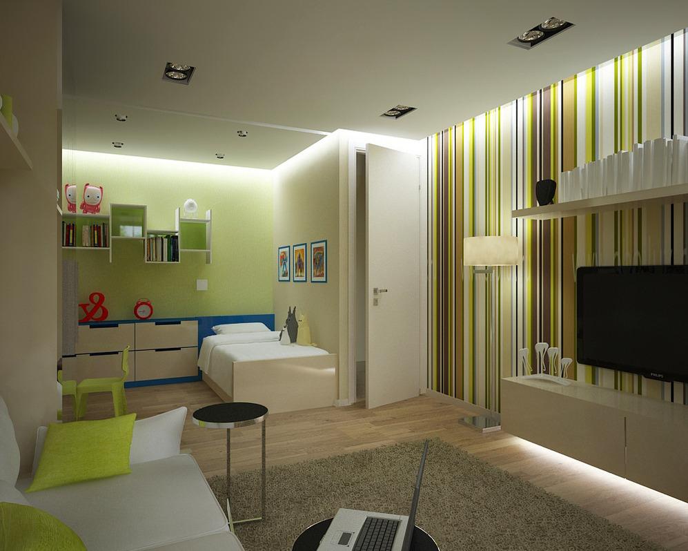 Dizajn apartmán s jednou spálňou pre rodinu s dieťaťom
