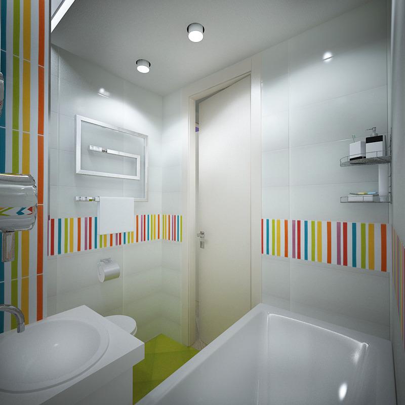 Красочные акценты в ванной