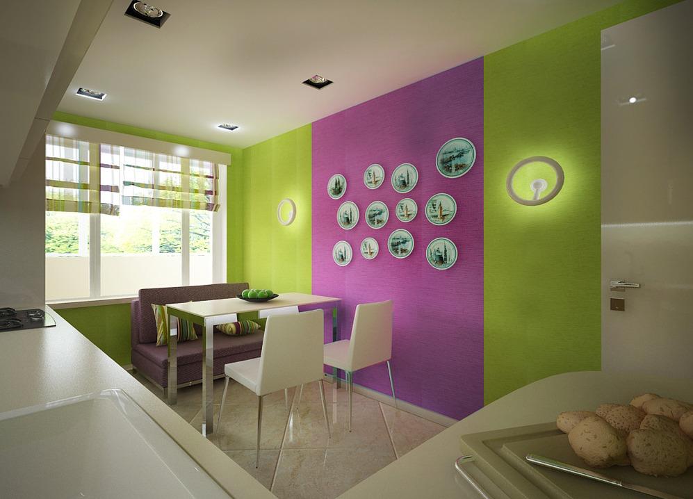 Яркий дизайн на кухне
