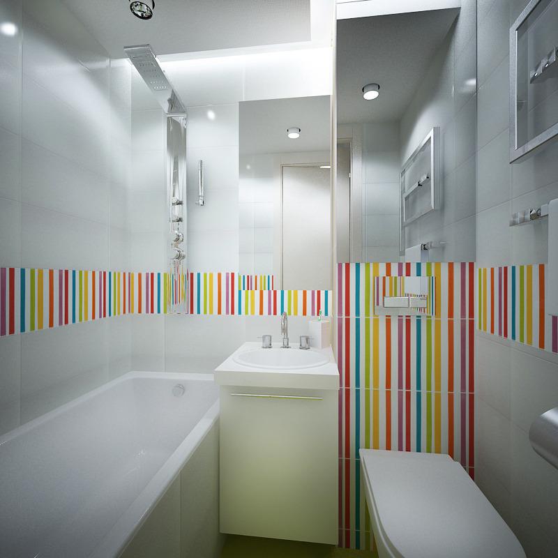 Красочная плитка в белой ванной