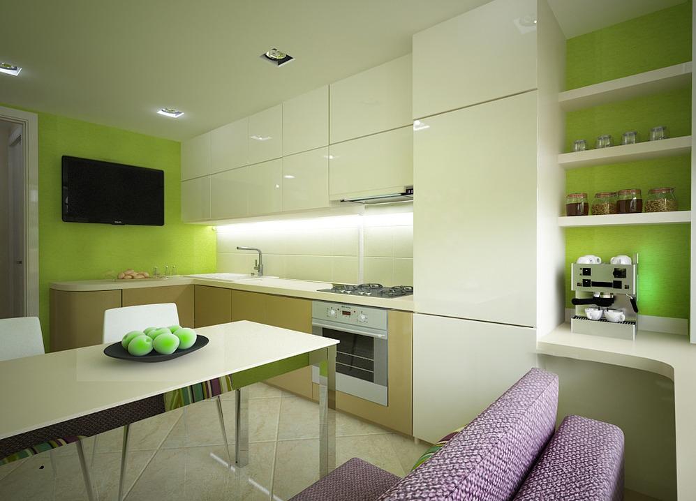 Просторная кухня со столовой