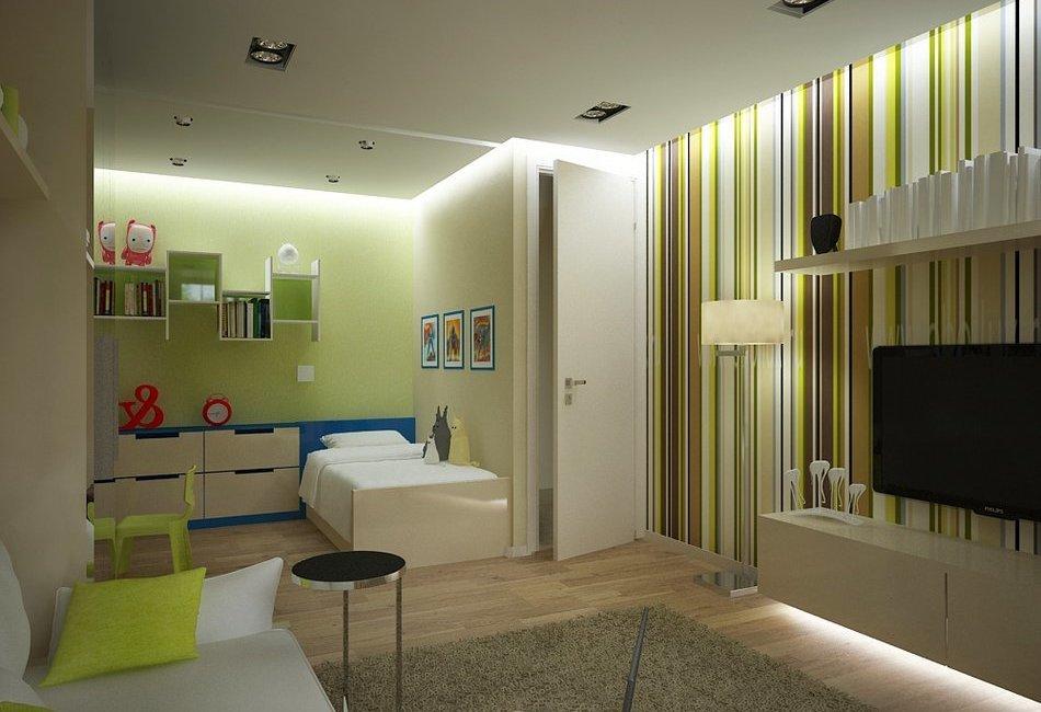 Дизайн однокомнатной квартиры для семьи с двумя разнополыми детьми