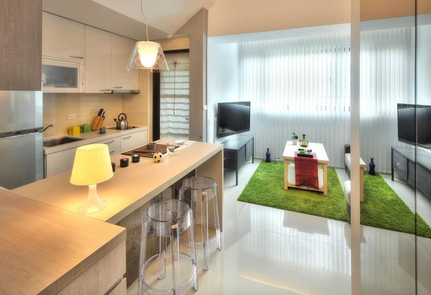 Кухня и гостиная в квартире-студии