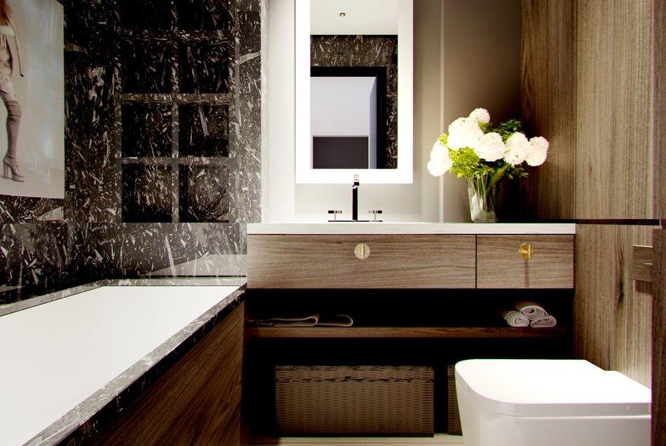 Интерьер небольшой стильной ванной
