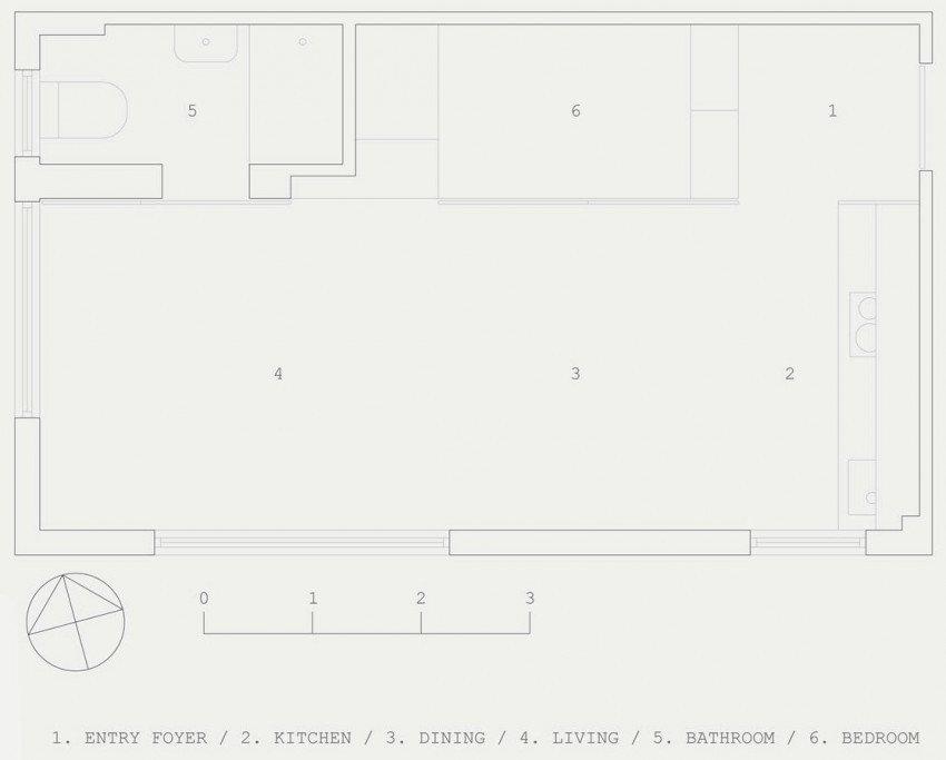Планировка необычной квартиры-студии