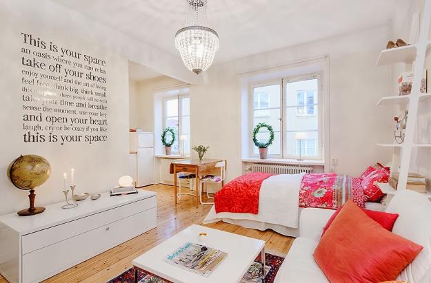 Спальня и гостиная в скандинавском стиле