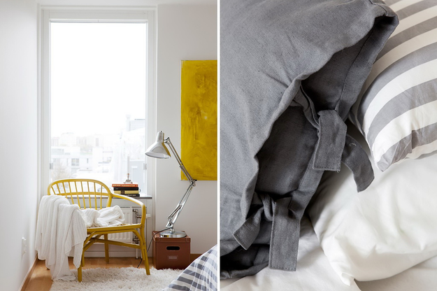 Жёлтый и серый цвета в оформлении спальни