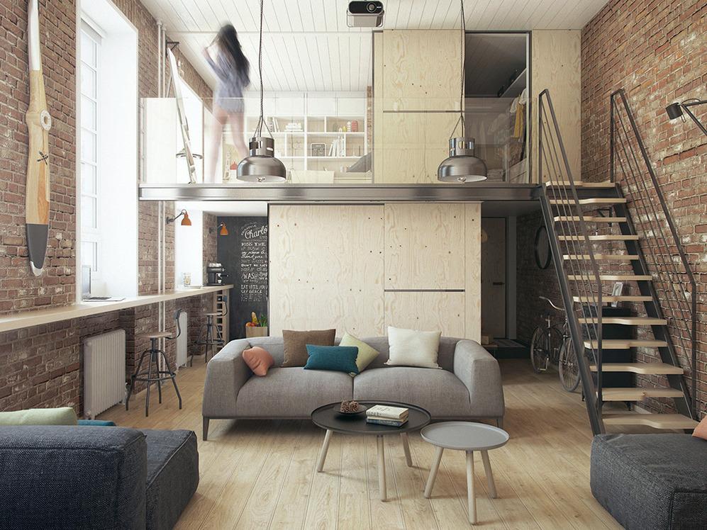 Интерьер двухуровневой квартиры в стиле лофт