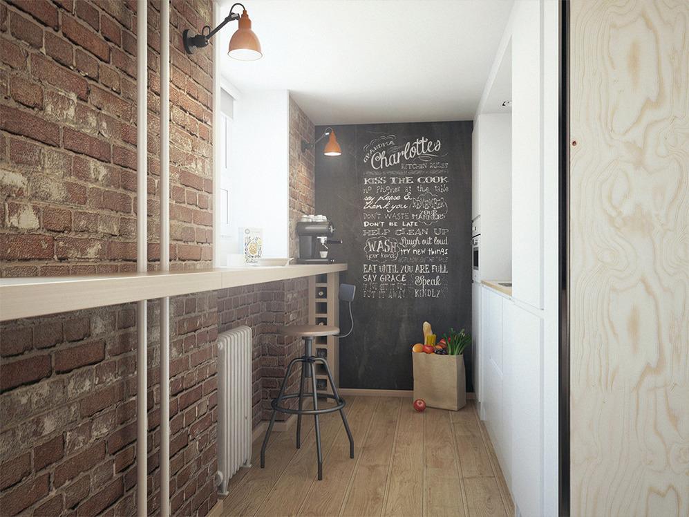 Барная стойка вдоль стены
