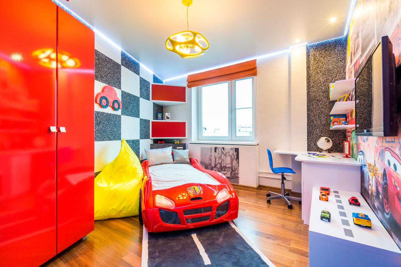 Дизайн детской комнаты в стиле тачки