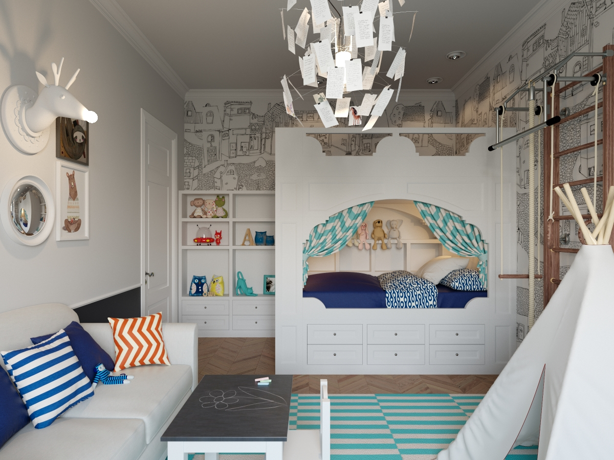 Кровать с выдвижными ящиками из дерева белого цвета в детской