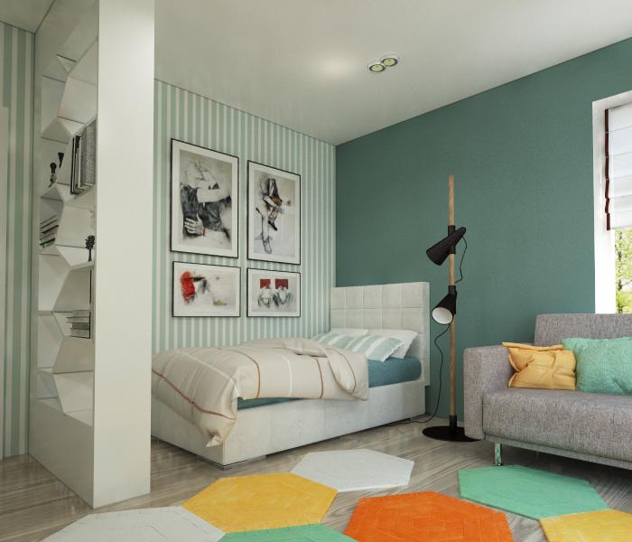 Зеленые обои в полоску возле кровати в детской