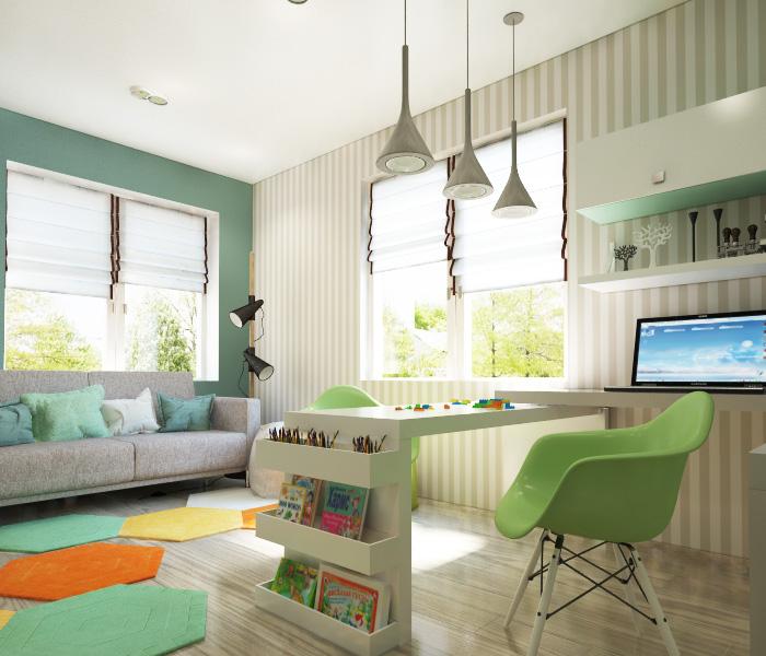 Светелая детская комната с серым диваном