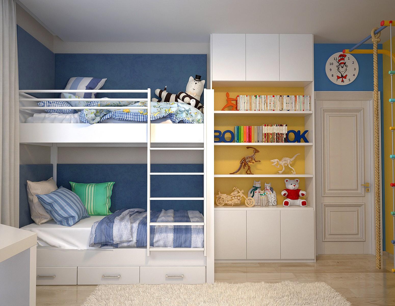 Белый стеллаж до потолка для книг и игрушек