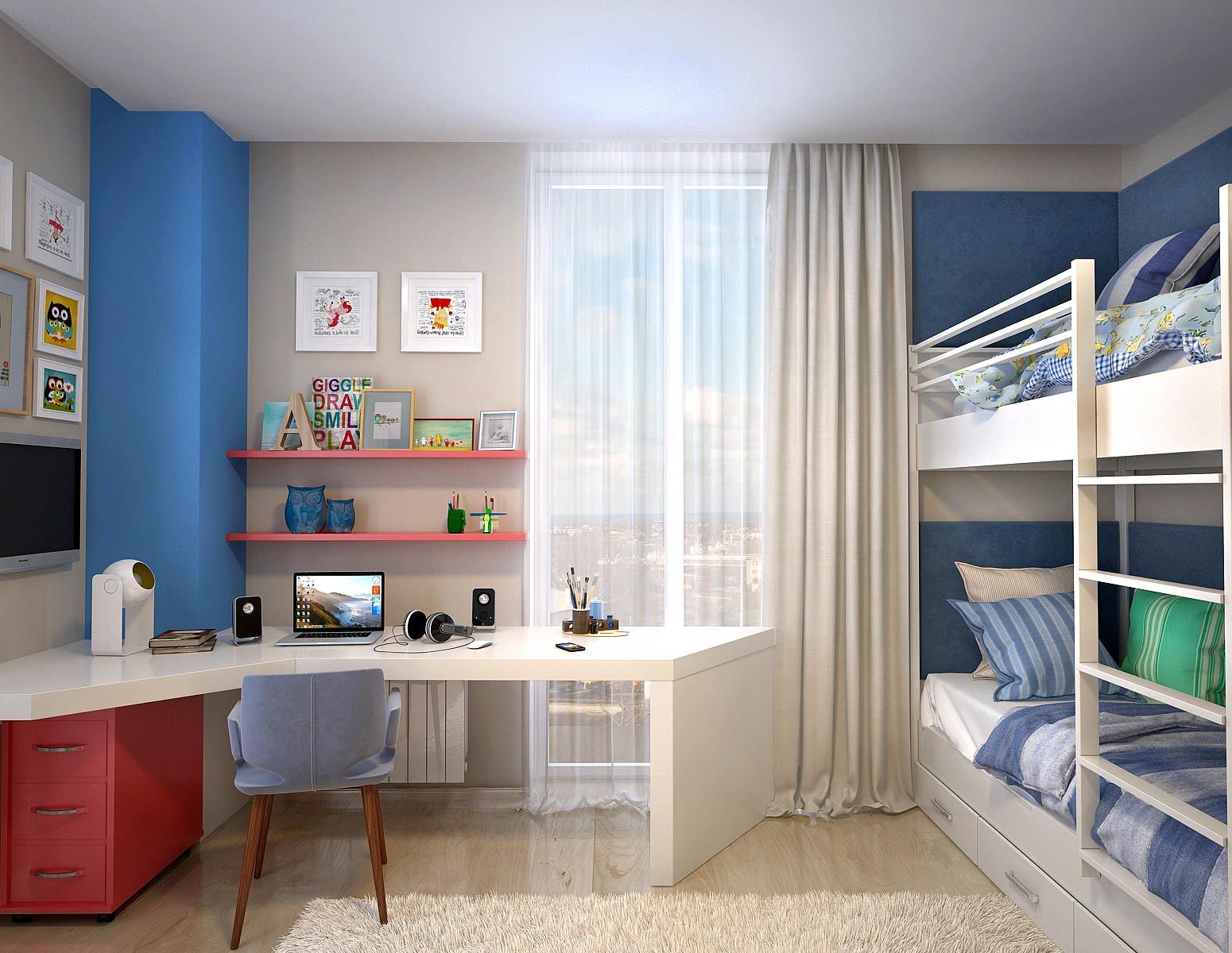 Маленькая детская комната с двухъярусной кроватью для двоих детей
