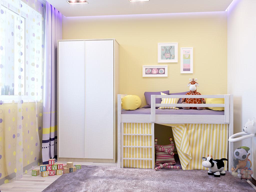 Желтые стены в маленькой детской комнате