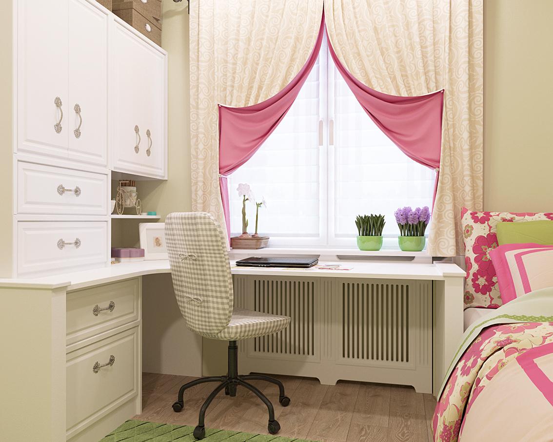 Текстильное оформление окна в детской для девочки