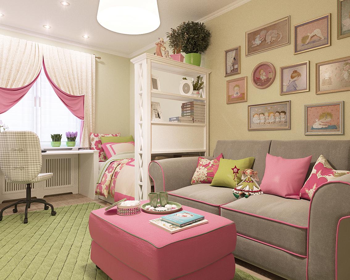 Стеллаж разделяющий зону для гостей и спальную зону в детской