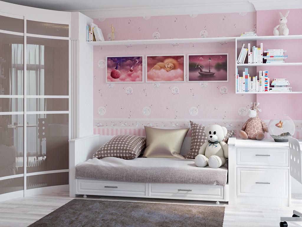 Подушки на кровати в детской