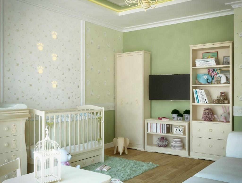 Зона хранения в детской - шкаф, стеллаж, телевизор