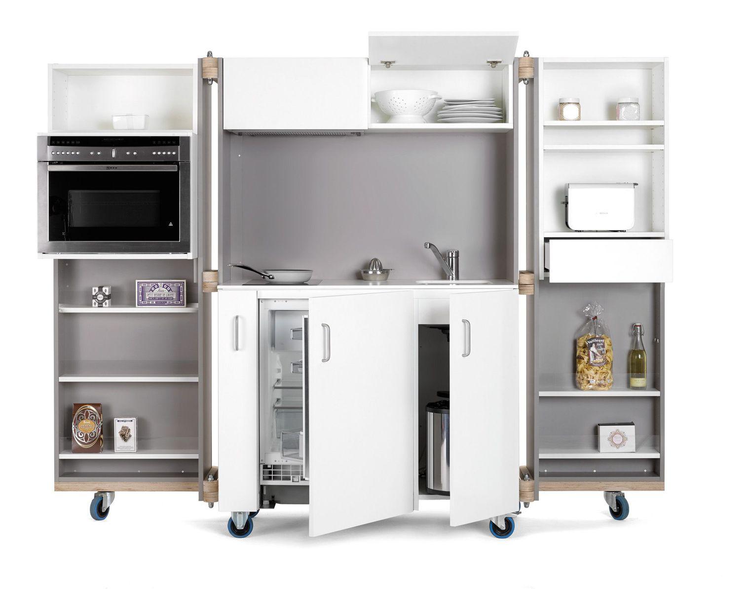 Мобильная маленькая дизайнерская кухня
