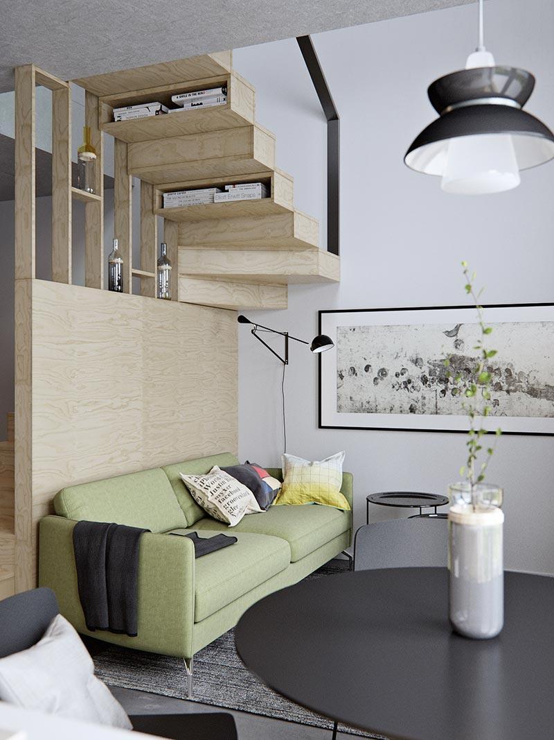 Маленькая двухуровневая квартира в светлых тонах