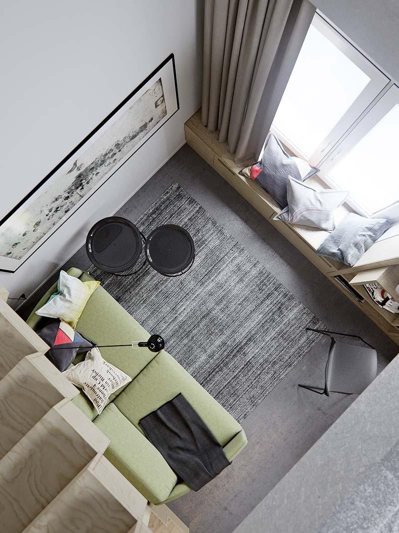 Маленькая двухуровневая квартира - вид сверху