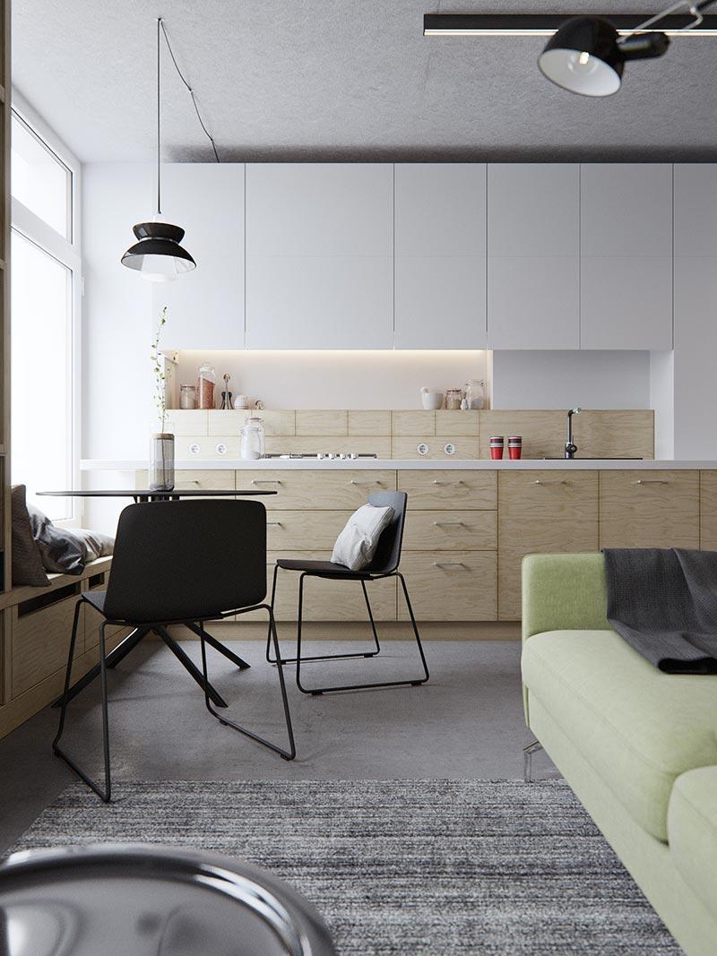 Кухня в маленькой двухуровневой квартире