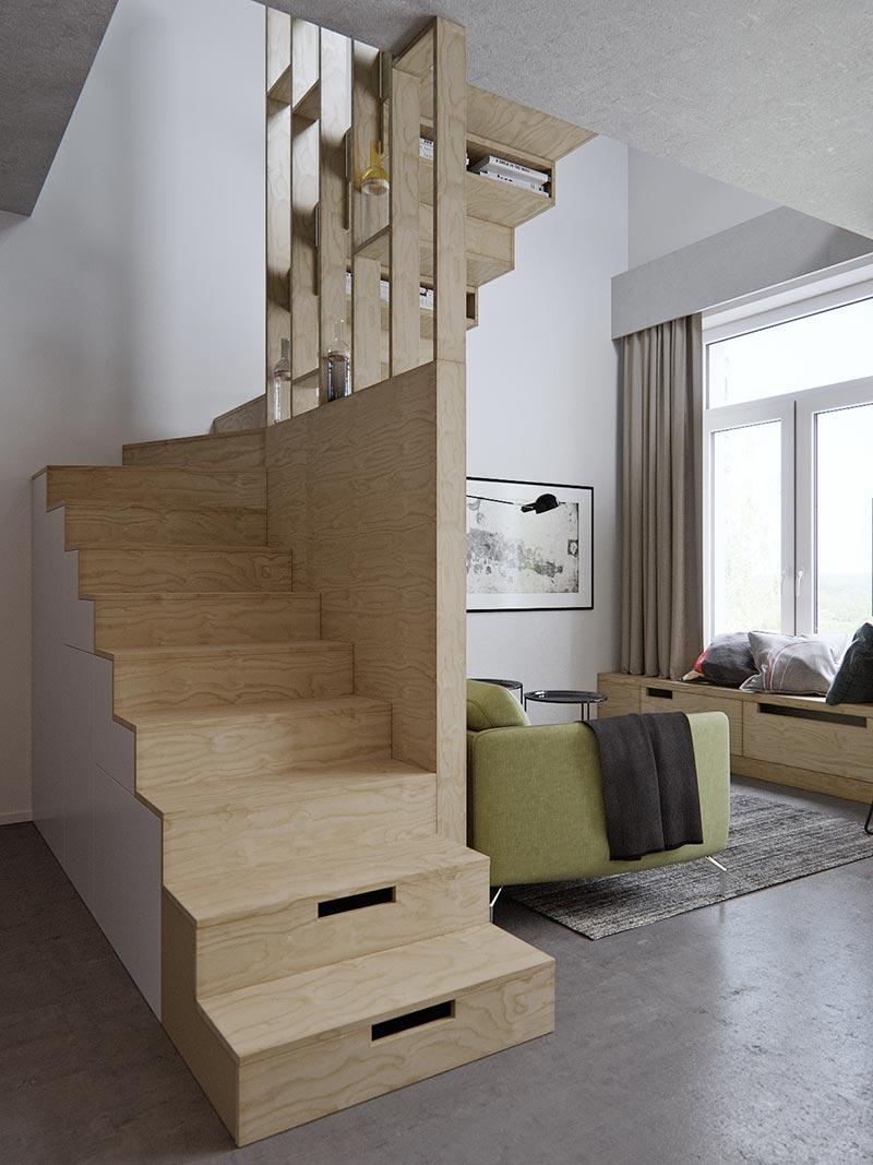 Лестница в маленькой двухуровневой квартире