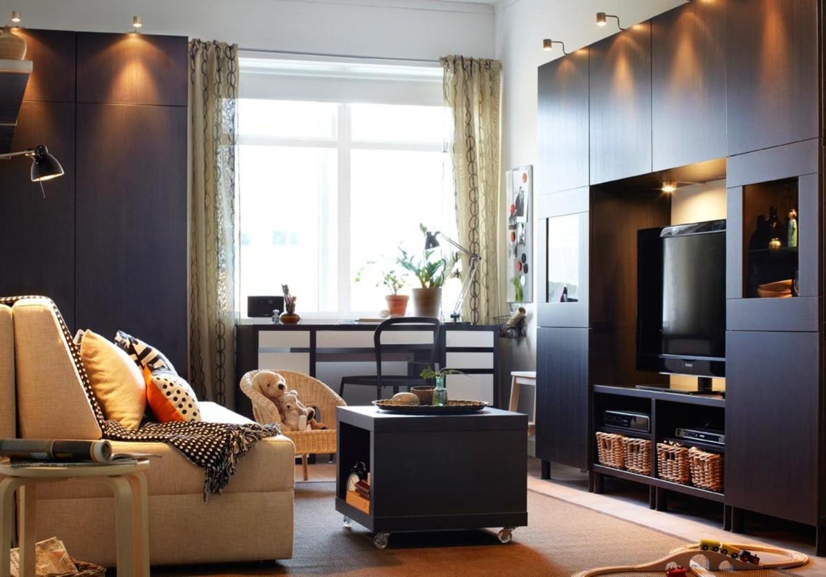 Тёмная мебель в гостиной