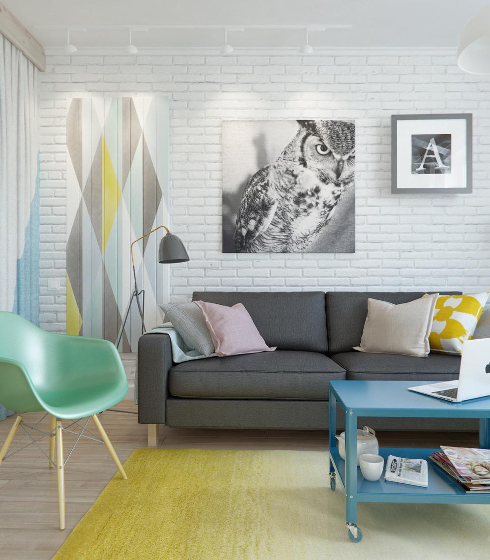 Гостиная дизайнерской квартиры в Подмосковье