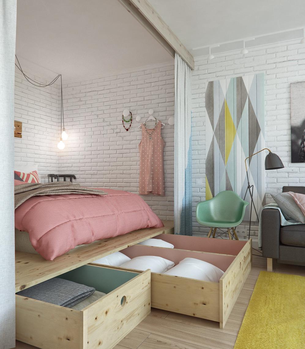 Система хранения в спальне дизайнерской квартиры в Подмосковье