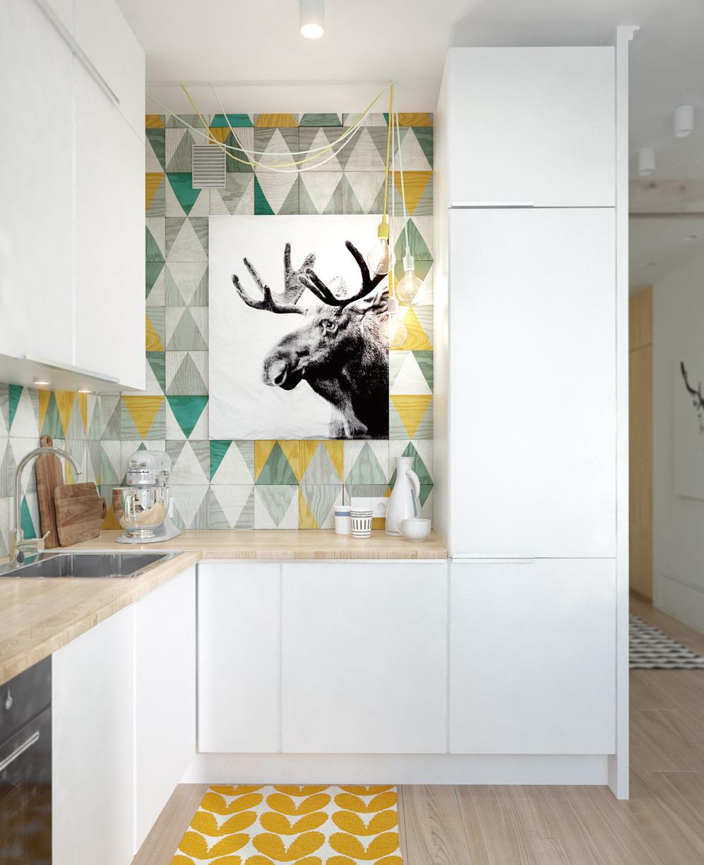 Кухня дизайнерской квартиры в Подмосковье
