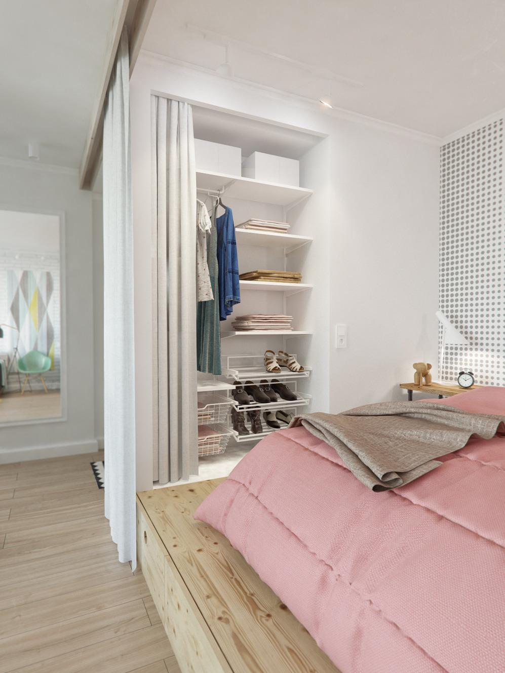 Спальня дизайнерской квартиры в Подмосковье