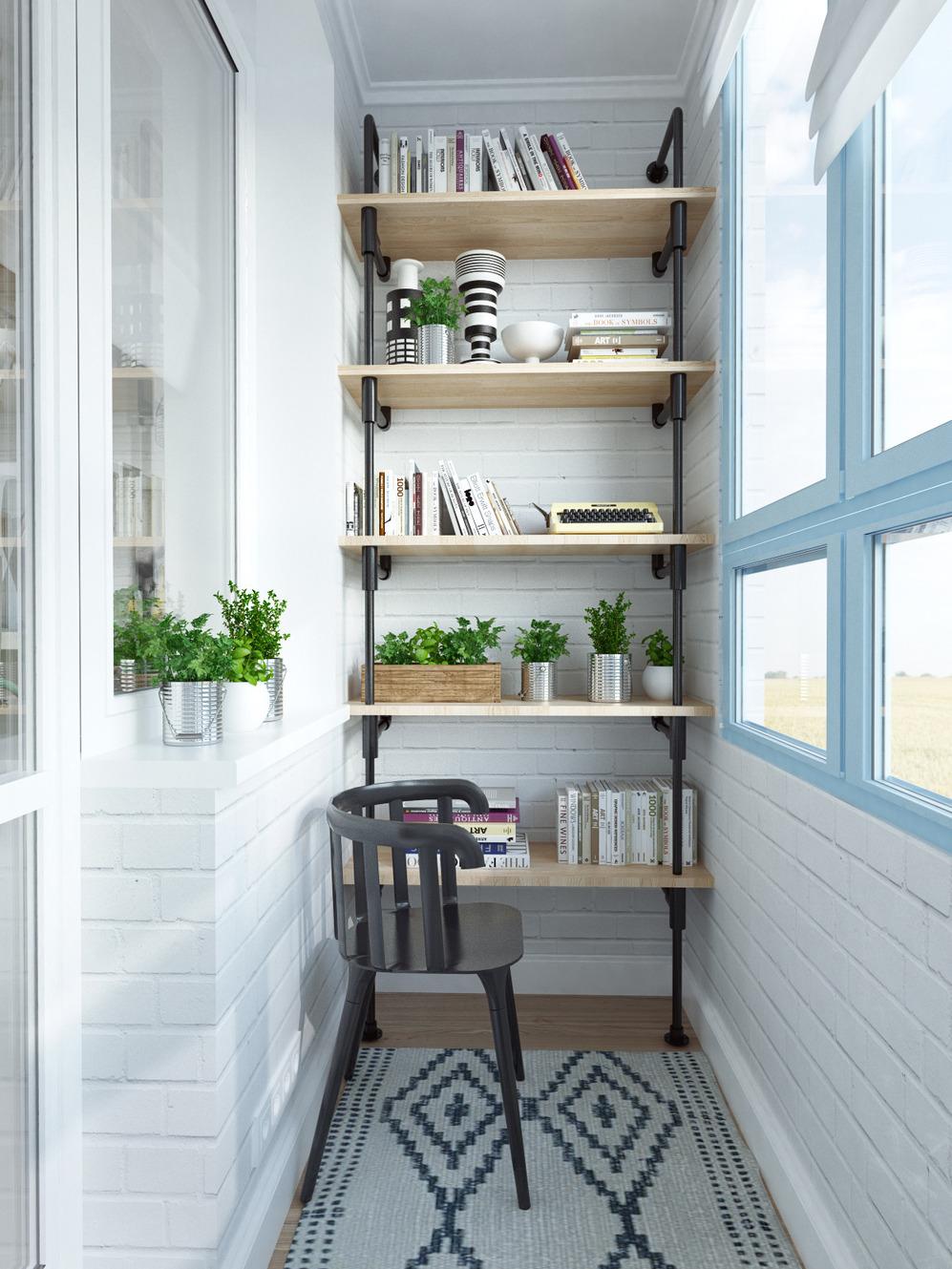 Стеллаж на балконе дизайнерской квартиры в Подмосковье