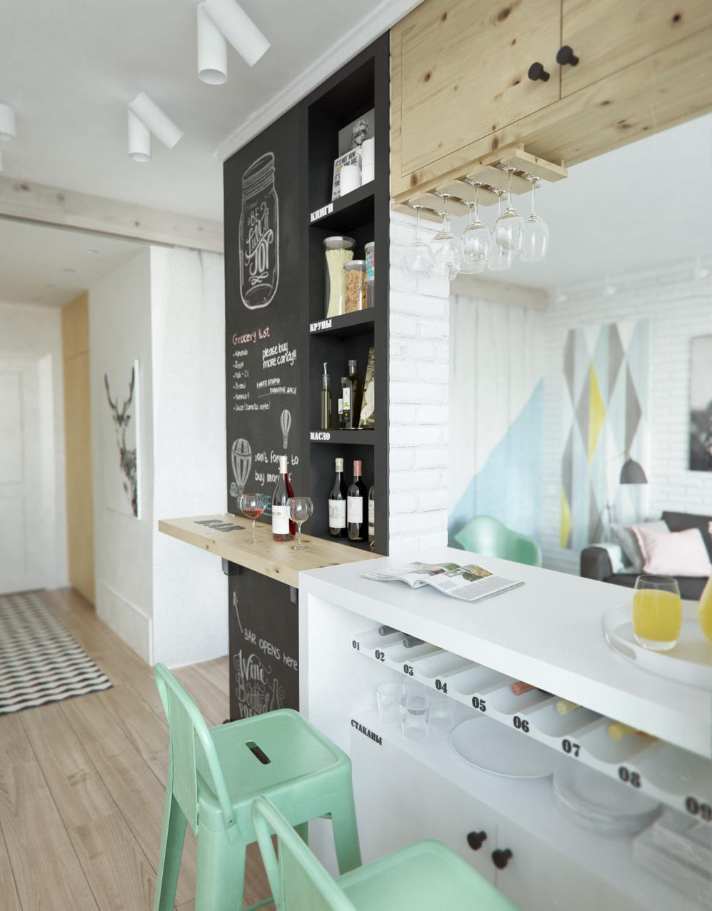 Барная стойка дизайнерской квартиры в Подмосковье