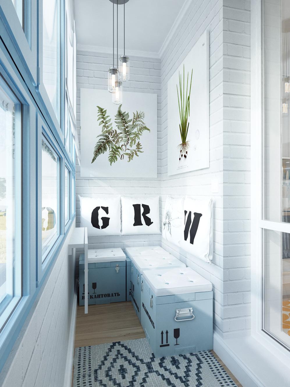 Балкон дизайнерской квартиры в Подмосковье