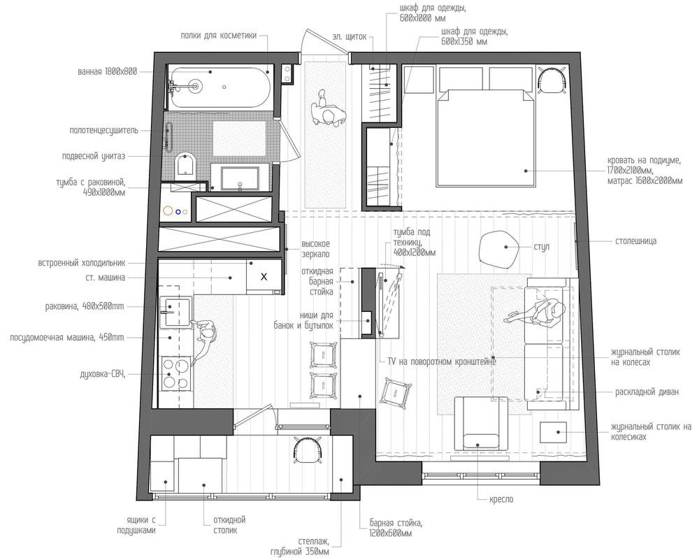 Планировка дизайнерской квартиры в Подмосковье