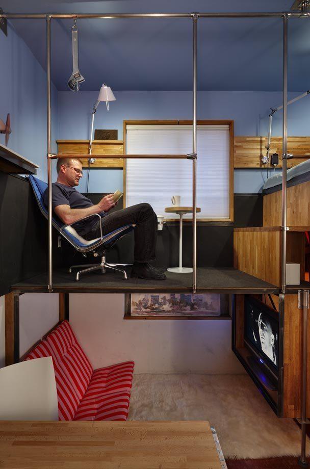Зона отдыха в трёхуровневой квартире