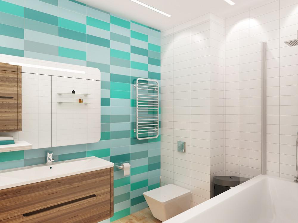 Бирюзовые акценты в интерьере белой ванной