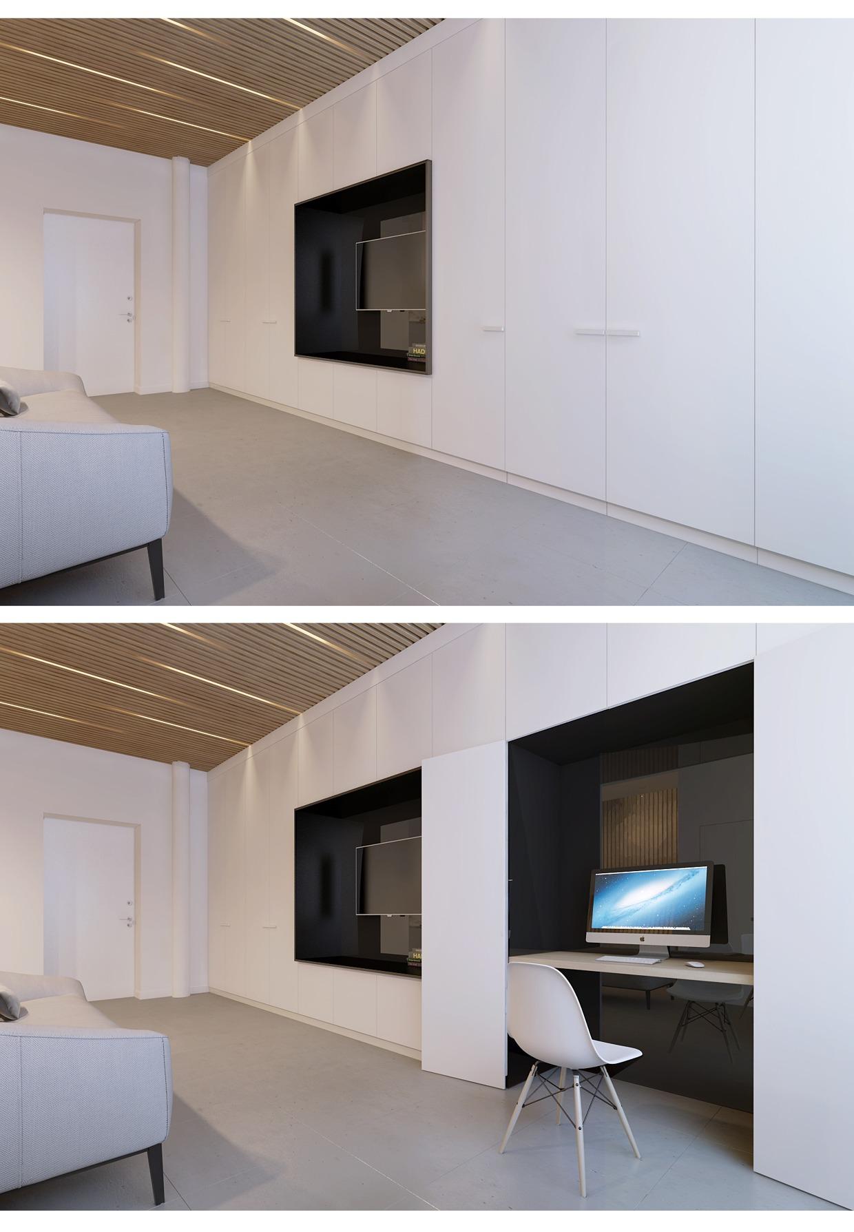 Спрятанный офис в маленьком доме